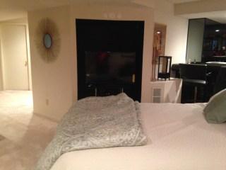 large tv, comfy bed