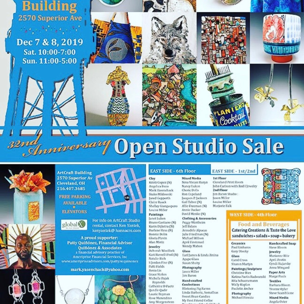 Our studio Sale - be sure to visit us on the west side of the Artcraft Building. We have a fabulous lineup of artists and a caterer in our studio (#402)