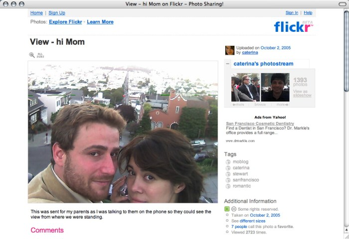 "9. ""Hi Mom"", selfie by Stewart Butterfield and Caterina Fake, co-founders of Flickr, october 2005 (license CC)."