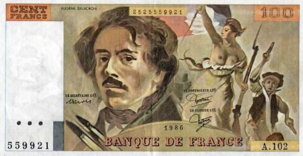 Billet de banque 100 F Delacroix, 1979.