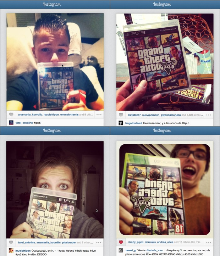 10. Selfies posted on Instagram for the launch of Grand Theft Auto V, September 17, 2013 (private collection).