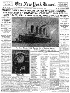3. Frontpage of the New York Times , 1912.