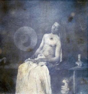 Hippolyte Bayard, Autoportrait en noyé (2e version), contraste renforcé.