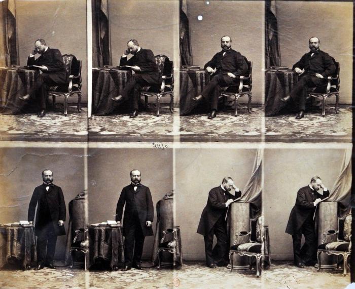 Disdéri, planche de portraits, v. 1860.