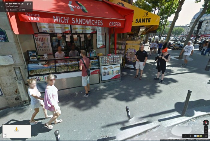 Floutage automatique sur Google Street View, Paris 2016.