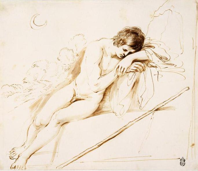 Le Guerchin, Endymion endormi, lavis, 17e s., (New York, MET).