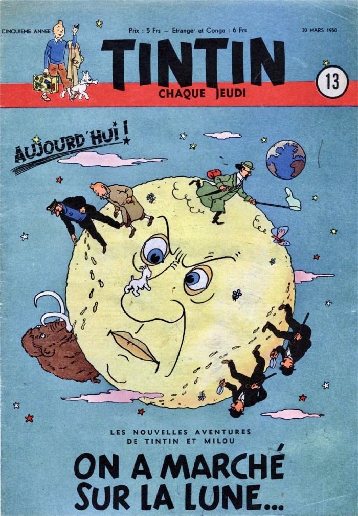 1er épisode d'Objectif Lune, Tintin, 30 mars 1950.