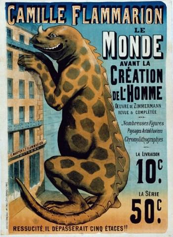 """Publicité Emile Lévy pour """"Le Monde avant la création de l'Homme"""", par Camille Flammarion, 1886."""