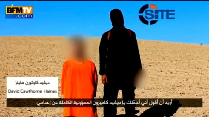Extrait de la vidéo de l'exécution de David Haines, diffusé par BFMTV, 14/09/2014.