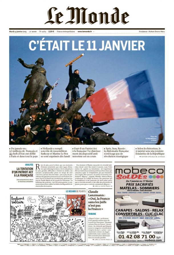 Le Monde, 13 janvier 2015 (photo: Stéphane Mahé).