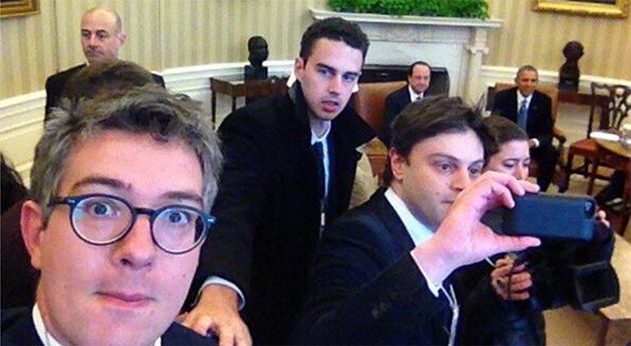 Thomas Wieder, selfie à la Maison Blanche, 11 février 2014.