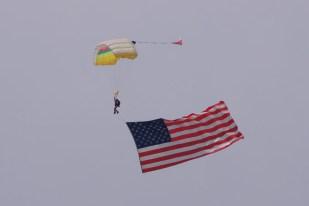 The lead jumper flew a huge American flag