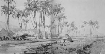 """Honolulu Salt Pan, near Kaka'ako"" drawn by a Auguste Borget-(Hammatt)-1838"
