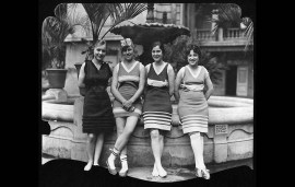 1918: From left: Miss Bernice Young, Miss Frances Burtner, Miss Josephine Brixell and Mrs. E.K. Pritchard pose for photo published on the July 21, 1918 Los Angeles Times society page.