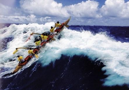 2001-MolokaiHoe Kihei Canoe Club mid-channel in koa canoe Ku Koa Manutea