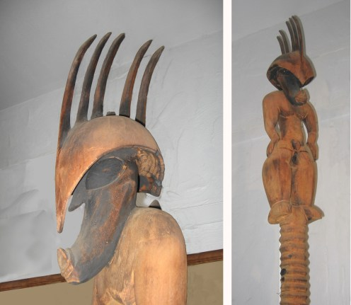A collage of a wooden carving of the demi-god Kampua'a - at Bailey House Museum