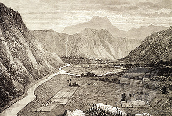 c. 1826 lithograph, William Ellis C., Big Island. Waipio Valley, Ahupua'a.