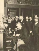 Alexander Graham Bell at the opening of the long-distance line from New York to Chicago-(LOC)-1892