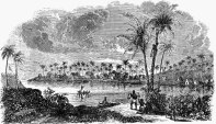An engraving from 1847 of Gulick's birthplace, Waimea, Kauai