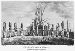 An illustration by William Ellis of the Morai (heiau) at Kealakekua-1782