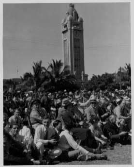Audience at fashion parade to select the best dressed lei seller in Honolulu-at Irwin_Park-PP-33-9-019-1936