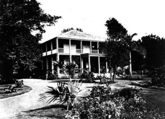 Bernice Pauahi's residence at Haleʻākala-the building itself is called Aikupika - near what is now the intersection of Bishop and King streets