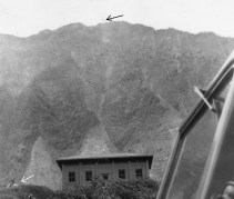 Black arrow points out the 60 foot tower on the North cliff. The white arrow indicates the lower hoist A frame-(DavidJessup)-