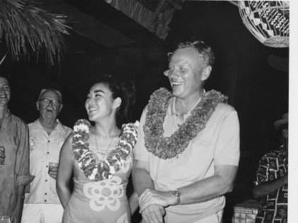 Bobbi and Peter Fithian at the Hawaiian International Billfish Tournament-1967-Outrigger