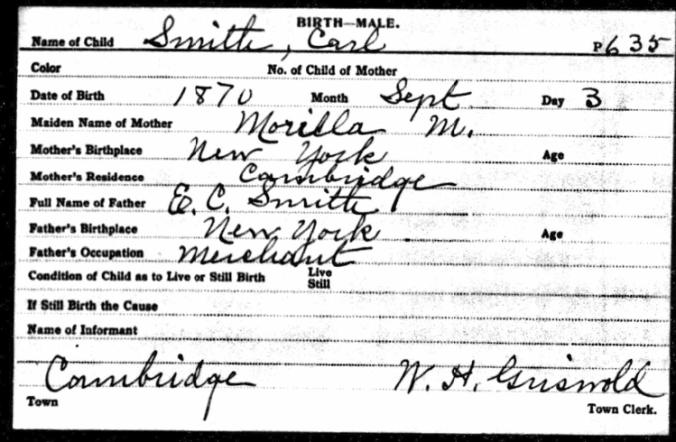 Carl Smith birth notation 1870