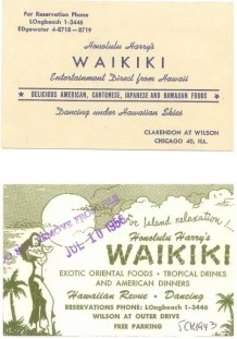 Chicago - Honolulu Harry's Waikiki - Business Card