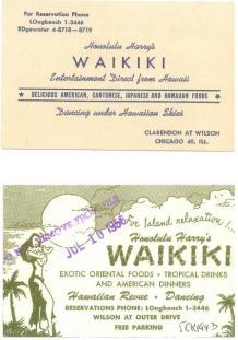 Chicago - Honolulu Harry's Waikiki - Business Card