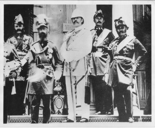 Col George W Macfarlane, Gov John O. Dominis, Capt AB Hayley, Maj John Dominis Holt, and Maj Antone Rosa-PP-96-13-008-1882