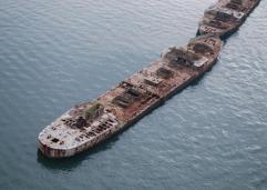 Concrete Fuel Barges as Breakwater-Kiptopeke Virginia