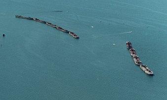 Concrete Fuel Barges as Breakwater-Kiptopeke, Virginia