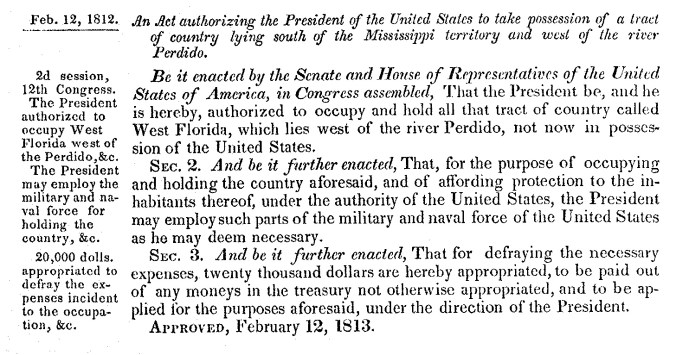 Congress Joint Resolution Annexing West Florida-Feb_12, 1812