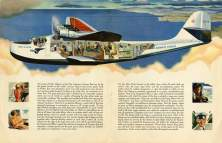 Cutaway drawing of a Martin M-130 clipper reveals the multiple cabins in the plane-Smithsonian