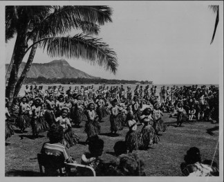 Dancers are from the Dan Wallace Hula Studio in the Royal Hawaiian Hotel-(HSA)-1950s-PP-33-5-023