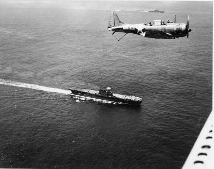 Dauntless flies over Enterprise-Dec1942