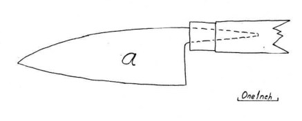 Deba Bocho-noting tang into wooden handle