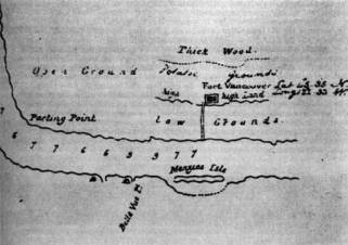 Detail of map of Fort Vancouver-Columbia River, Surveyed 1825