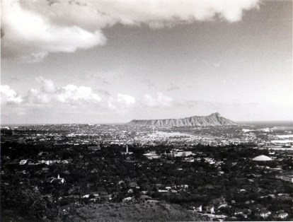 Diamond Head & Honolulu from the Punchbowl-(vic&becky)-1953