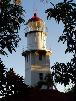 Diamond Head Light guards the south shore of Oahu at that noted landmark east of Waikiki Beach, guarding the approaches to Honolulu Harbor. The old keeper's house is the official residence of the Commandant of the Coast Guard's 14th District.