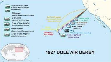 Dole Air Derby-map of contestants-1927
