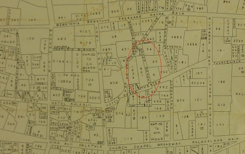 Downtown_Honolulu-Land_Commision_Awards-Map-1847-(portion-Note-Adams_'Branch'-Homesite_is_#801))