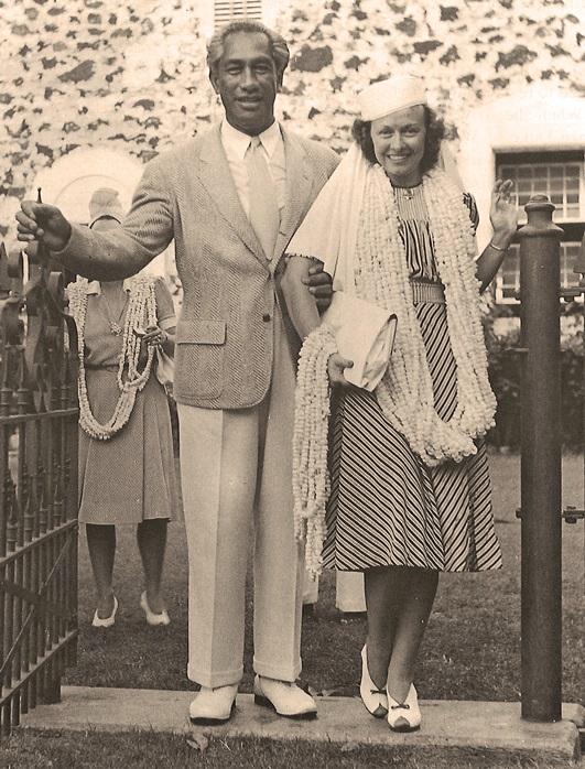 Duke and Nadine Kahanamoku-Married-Mokuaikaua-August 2, 1940-BM