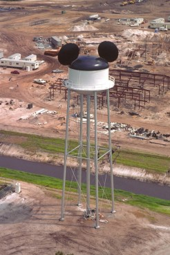 Earffel Tower is not used to hold water, it was inspired by the working water tower in Burbank, Calif