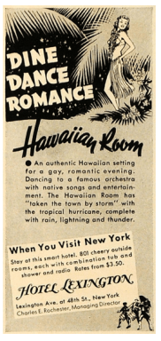 Early advertisement for the Hawaiian Room