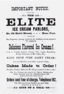 Elite Ice Cream Parlors-Daily Bulletin, July 10, 1885