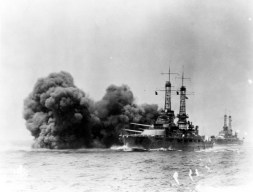 Firing her 14 main battery guns during exercises in the early 1920s