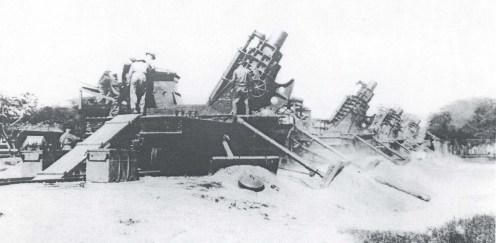 Fort Kamehameha 12-inch railroad mortars, 1930s